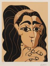 PABLO PICASSO | Portrait de Jacqueline au bandeau, accoudée (Femme au Bandeau)(B. 1081; Baer 1306)