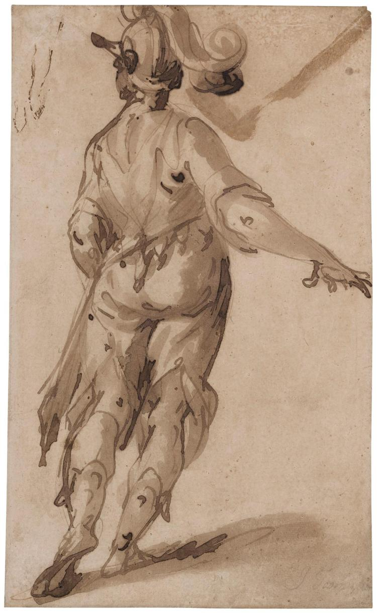 ATTRIBUTED TO FRANCESCO MAFFEI | Standing soldier with plumed helmet seen from behind, his right arm stretched to the right, while looking to the left