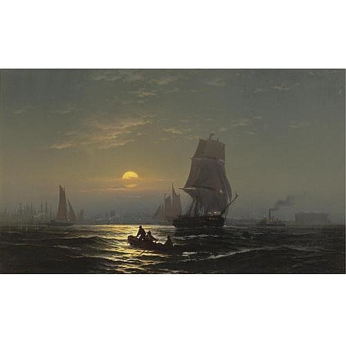 Edward Moran 1829-1901 , New York Harbor in Moonlight