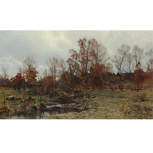 Hugh Bolton Jones 1848-1927 , Brook in Autumn