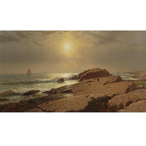 William Stanley Haseltine 1855 - 1900 , Rocks at Narragansett