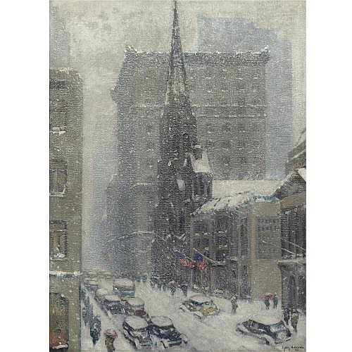 Guy Wiggins 1883-1962 , Winter on the Avenue