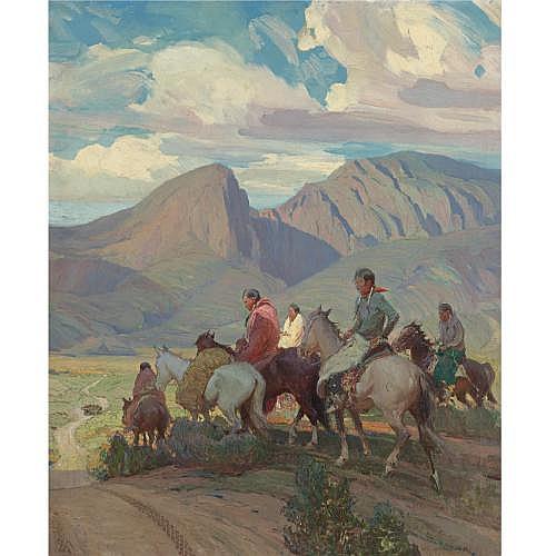 Oscar E. Berninghaus 1874-1952 , Indians on Horseback