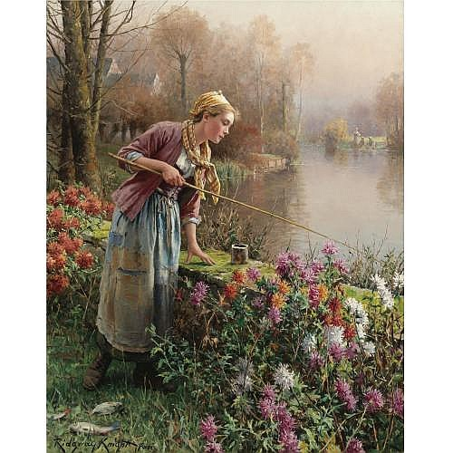 Daniel Ridgway Knight 1839-1924 , Brittany Girl Fishing