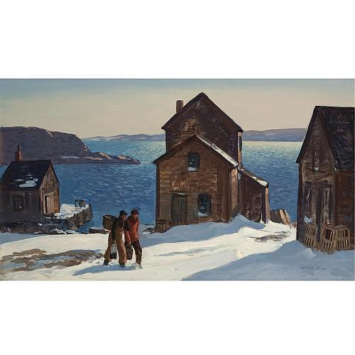 Gifford Beal 1879-1956 , Fish Houses, Winter Day