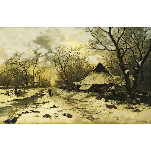 Karl Schultze 1856-1935 , The End of a Winter's Day