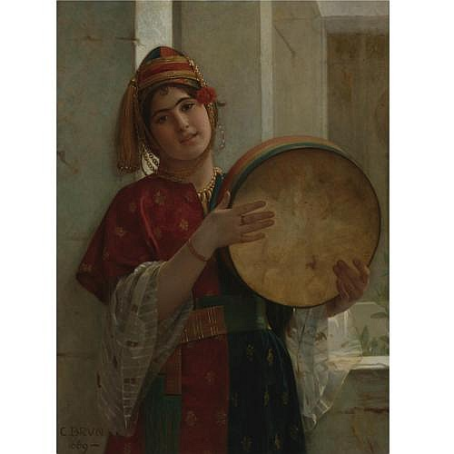 Guillaume-Charles Brun 1825-1908 , The Tambourine Player