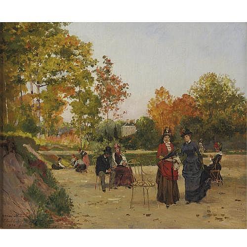 Paul-Émile Berton d. 1909 , Promenade au Jardin