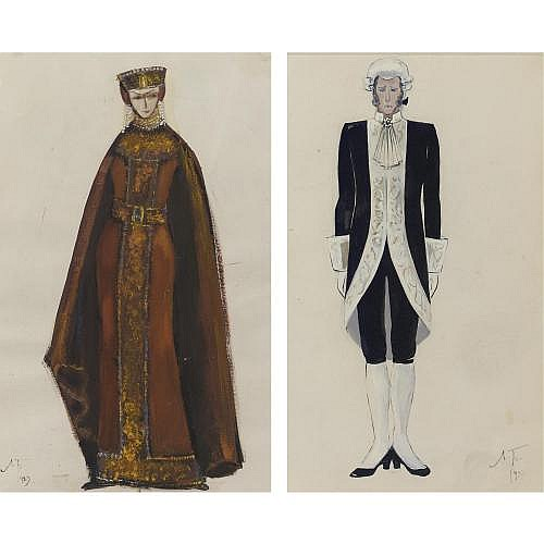 Lev Bruni 1894-1947 , Costume Designs: Princess and Attendant: 2 Works