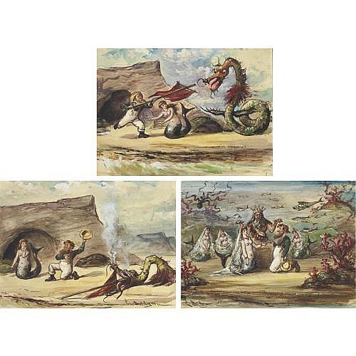u - George Brandt Bridgman 1865 - 1943 , The Shipwrecked Mariner:  Three Watercolors