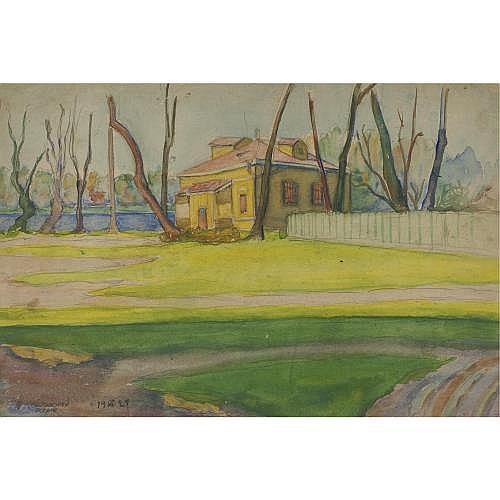 Anna Petrovna Ostroumova-Lebedeva 1871-1955 , House on a Riverbank
