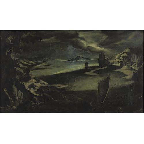 Filippo d'Angeli or de Liagno, called Filippo Napoletano Naples or Rome circa 1587 - 1629 Rome , View of a harbor in stormy weather