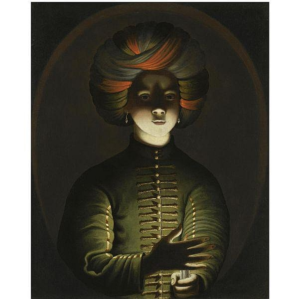 Attributed to Wolfgang Heimbach , Ovelgönne circa 1615 - after 1678 A young girl wearing a turban and holding a candle oil on canvas, in a painted oval