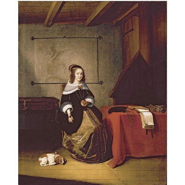 - Quiringh Gerritsz. van Brekelenkam , Zwammerdam circa 1622/30 - after 1669 Leiden a lady seated in an interior oil on panel