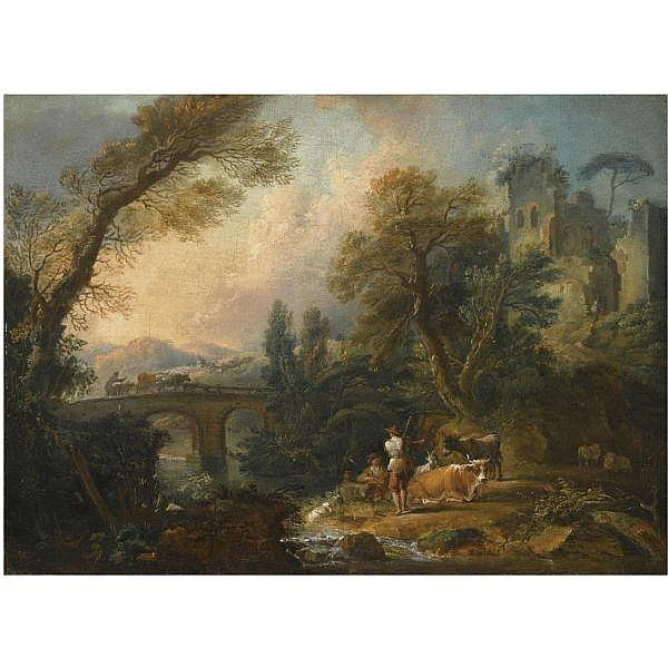 Nicolas Jacques Julliard , Paris 1715 - 1790 a pastoral landscape with herders and their animals resting beside a river, a bridge beyond oil on canvas, unlined, in a carved and gilt wood frame