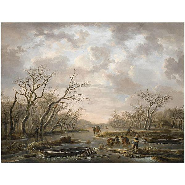 Andries Vermeulen , Dordrecht 1763 -1814 Amsterdam winter landscape with skaters on a frozen canal oil on panel