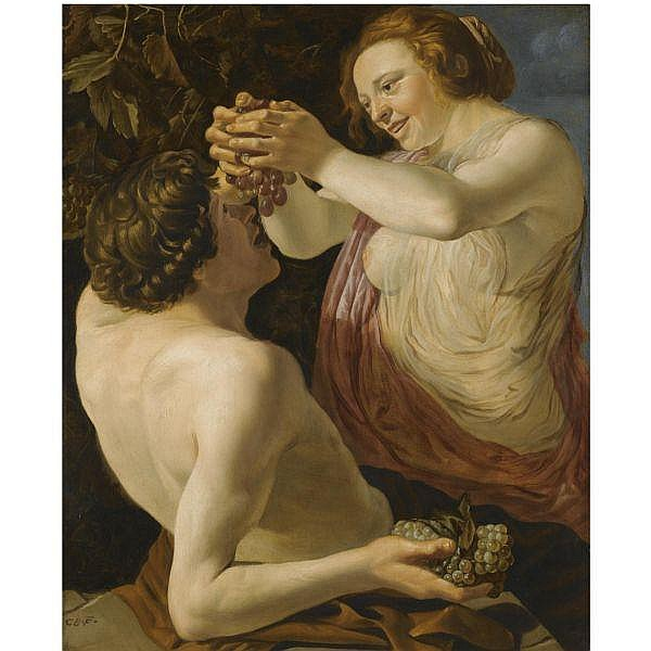Christian van Couwenbergh , Delft 1604-1667 Cologne Nymph and satyr oil on panel