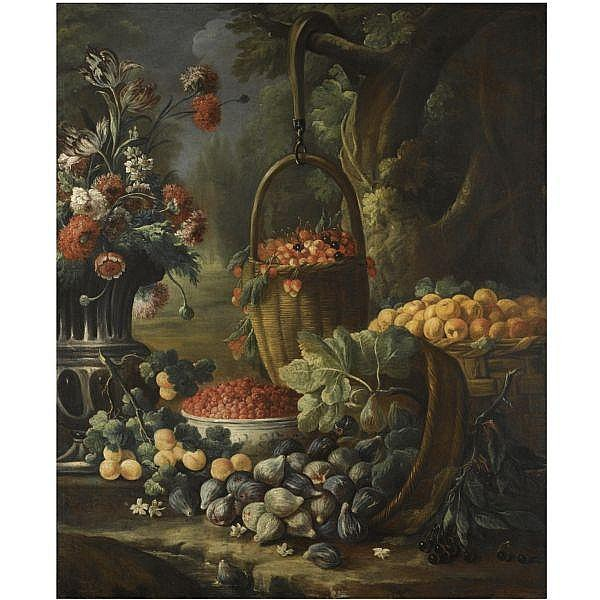 - Baldassare de Caro , Naples 1689 - 1760 An upturned basket of figs, together with apricots, other fruit and flowers in a landscape setting oil on canvas