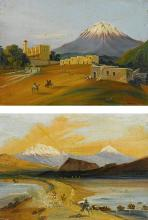 JOHANN MORITZ RUGENDAS (1802-1858) | Two Views of the Popocatépetl and Itztaccihuatl seen from the Valley of Mexico
