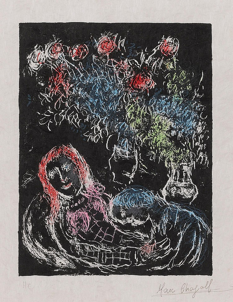 MARC CHAGALL | Couple against a black background II (M. 707a)