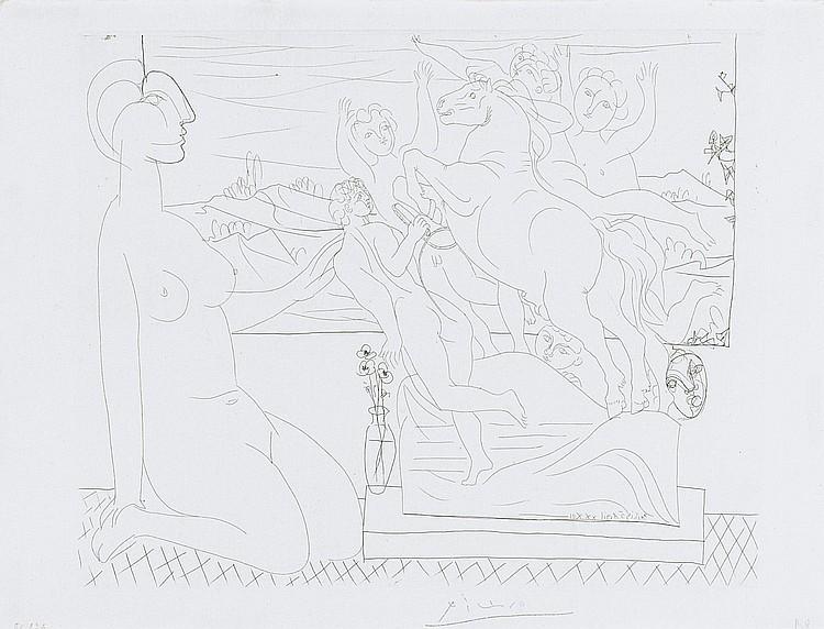 PABLO PICASSO | Marie-Thérèse agenouillée contemplant un groupe sculpté (B. 175; Ba. 328)