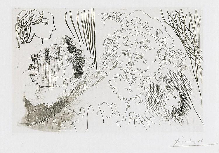 PABLO PICASSO | Feuille d'études. Profils de Marie-Thérèse et tête de Rembrandt au béret (B. 207; Ba. 405)
