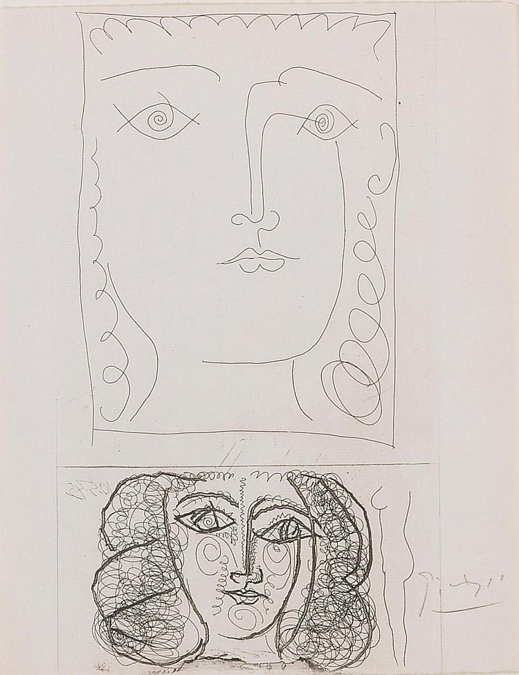 PABLO PICASSO | Deux Têtes de Femme de Face (B. 373; Ba. 701)