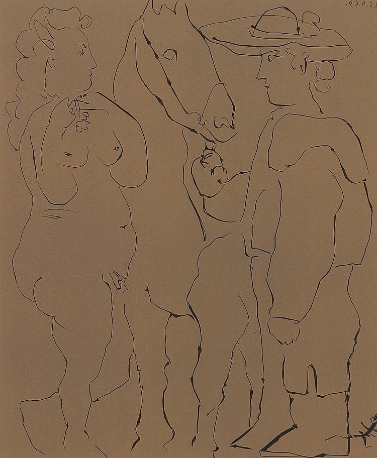 PABLO PICASSO | Picador debout avec son Cheval et une Femme (Picador, Femme et Cheval) (B. 913; Ba. 1238)