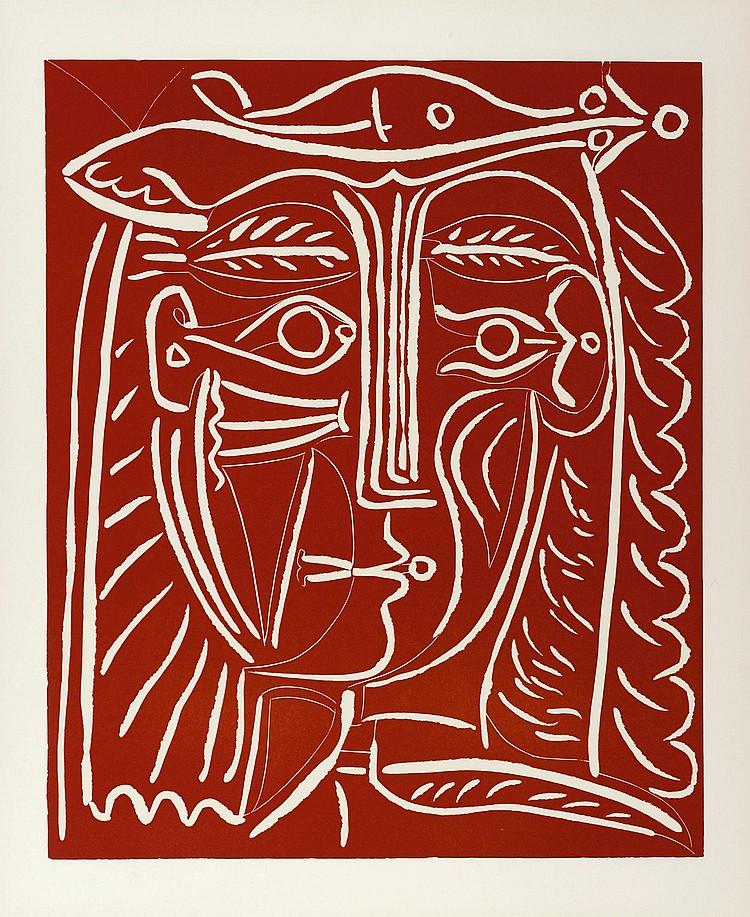 PABLO PICASSO | Tête de Femme au Chapeau/Paysage avec Baigneurs (Ba. 1284)