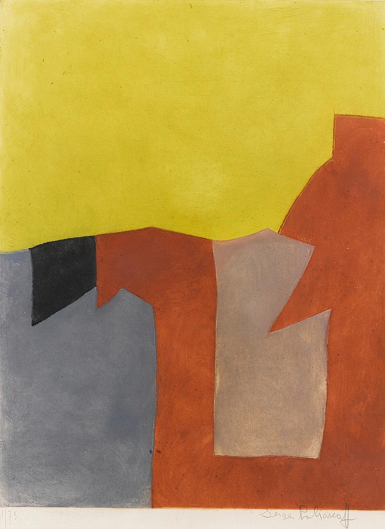 SERGE POLIAKOFF | Composition grise, brune et jaune (Rivière IX)