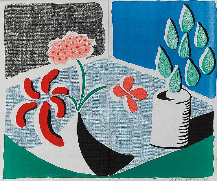 DAVID HOCKNEY | Red Flowers and Green Leaves, Separate, May