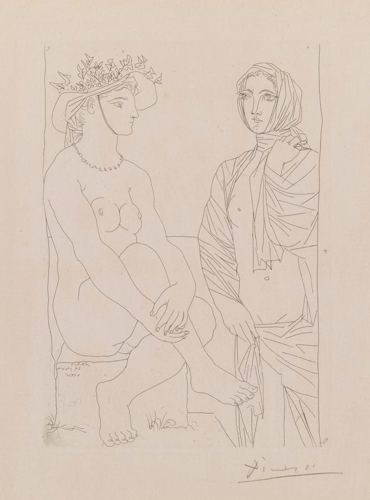 PABLO PICASSO | Au Bain. Femme auchapeau à fleurs et femme drapée dans une serviette(B. 210; Ba. 408)