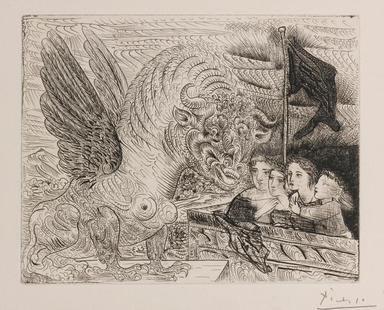 PABLO PICASSO | Taureau ailé contruplé par quatre enfants (B. 229; Ba. 444)