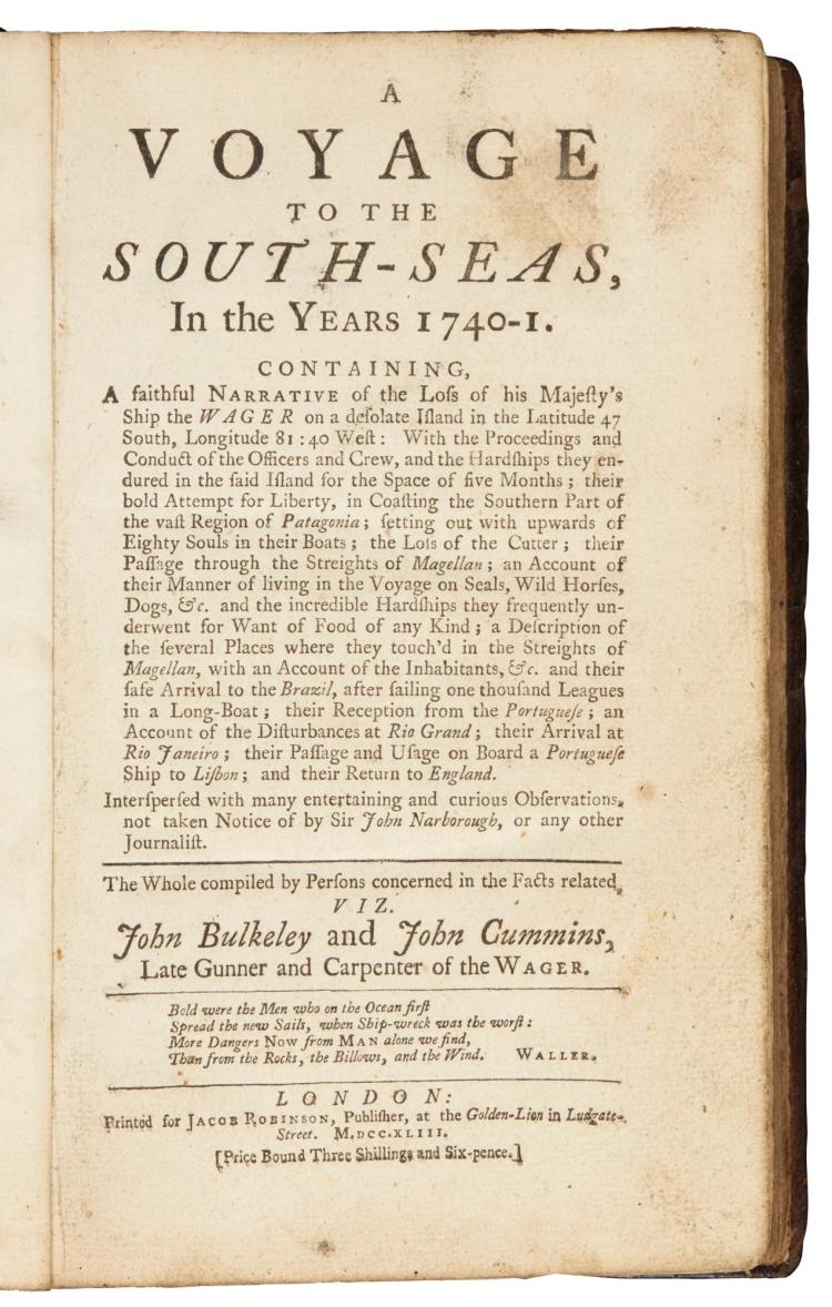 BULKELEY AND CUMMINS. A VOYAGE TO THE SOUTH SEAS. 1743