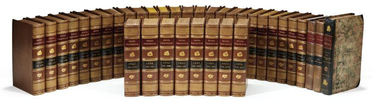 NAVAL CHRONICLE, (33 VOL.), (PLUS VOLUMES 36, 37 AND 40), TOGETHER 36 VOLUMES