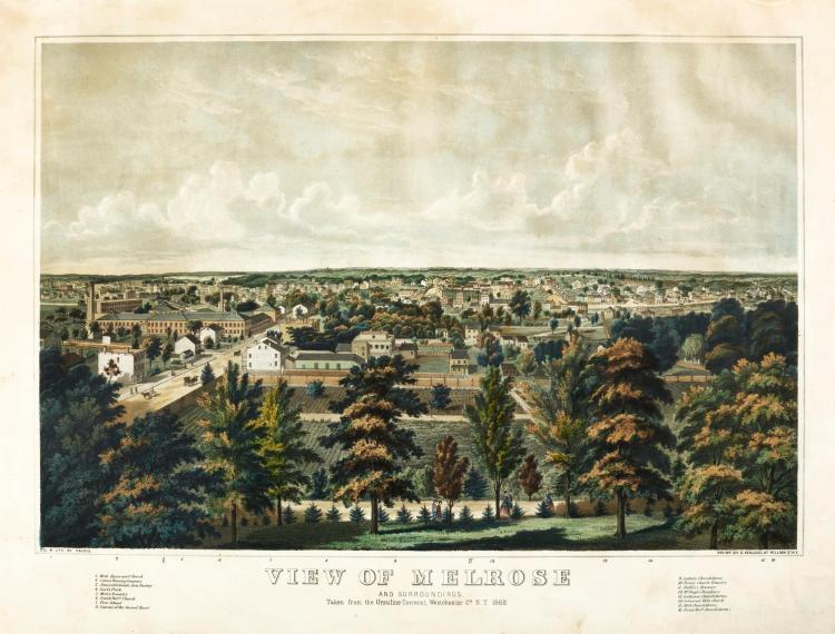 NEW YORK--VALOIS. VIEW OF MELROSE. 1868. HAND-COLOURED LITHOGRAPH