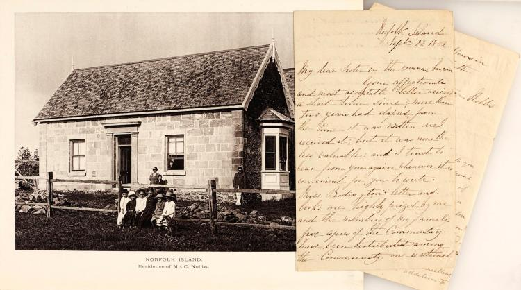 SPRUSON. NORFOLK ISLAND. 1885 [AND] LETTER FROM GEORGE NOBBS
