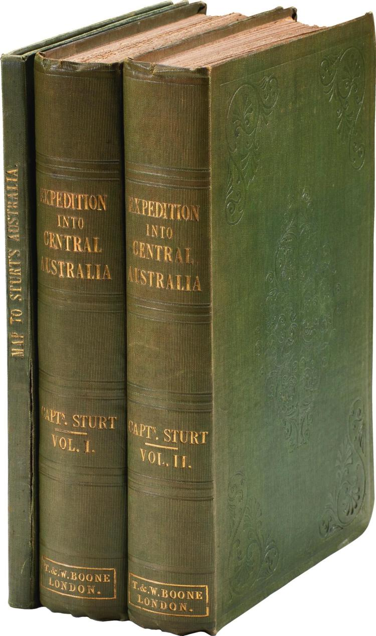 STURT. NARRATIVE OF AN EXPEDITION INTO CENTRAL AUSTRALIA. 1849, 2 VOL.; PLUS MAP OF CAPTN. STURT'S ROUTE