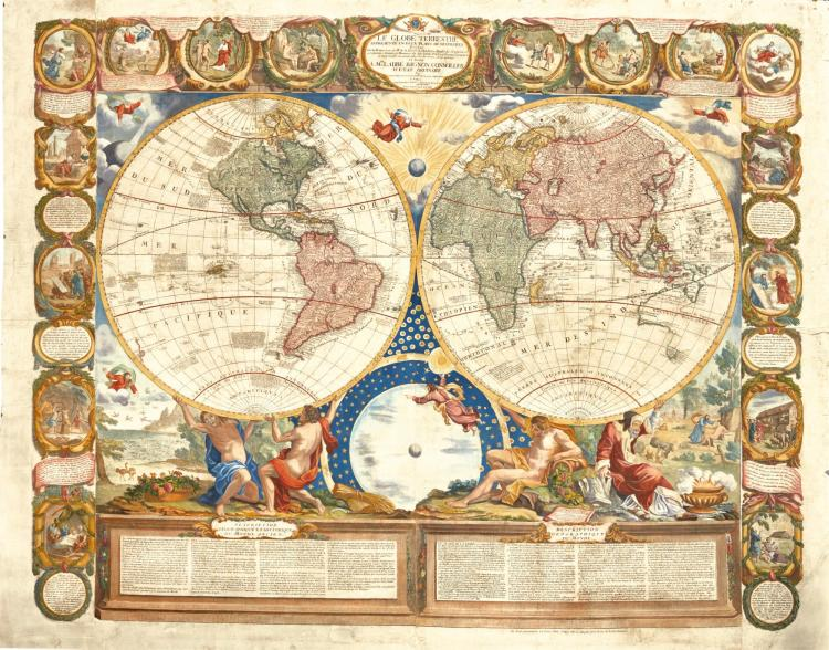 NOLIN. LE GLOBE TERRESTRE REPRESENTÉ EN DEUX PLANS-HEMISPHERES. [1775]