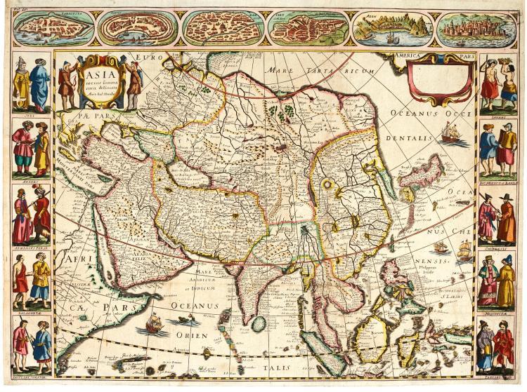 A SET OF FOUR CONTINENTS. [HONDIUS AND D' AVITY. LES ESTATS, EMPIRES, ROYAUMES ET PRINCIPAUTEZ DU MONDE. 1659]