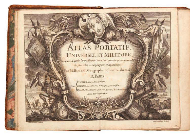 ROBERT DE VAUGONDY, ATLAS PORTATIF. PARIS, 1748, 4TO, PLAIN ENGRAVED MAPS, CONTEMPORARY CALF
