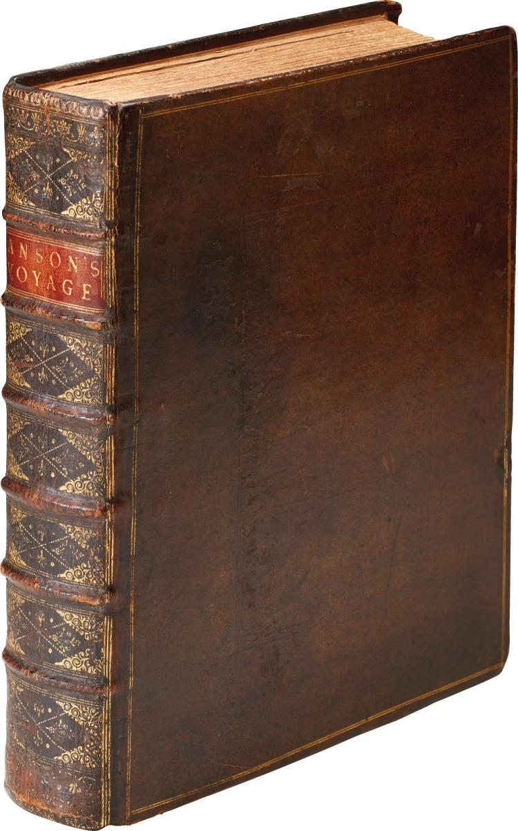 ANSON, A VOYAGE ROUND THE WORLD, 1748, 4TO, LARGE PAPER COPY, FIRST EDITION, CONTEMPORARY CALF
