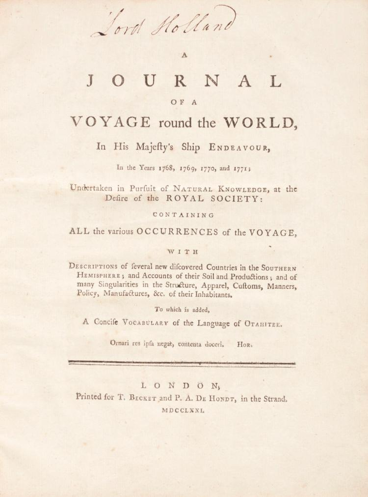 [COOK: FIRST VOYAGE], MAGRA. A JOURNAL OF A VOYAGE ROUND THE WORLD. 1771