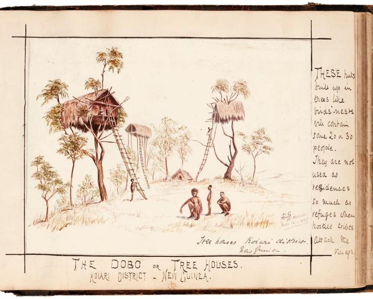 ALBUM OF WATERCOLOURS AND DRAWINGS BY DOYLE GLANVILLE, 1883-1885, OF NEW GUINEA, EGYPT, SUDAN, CHINA, ETC.