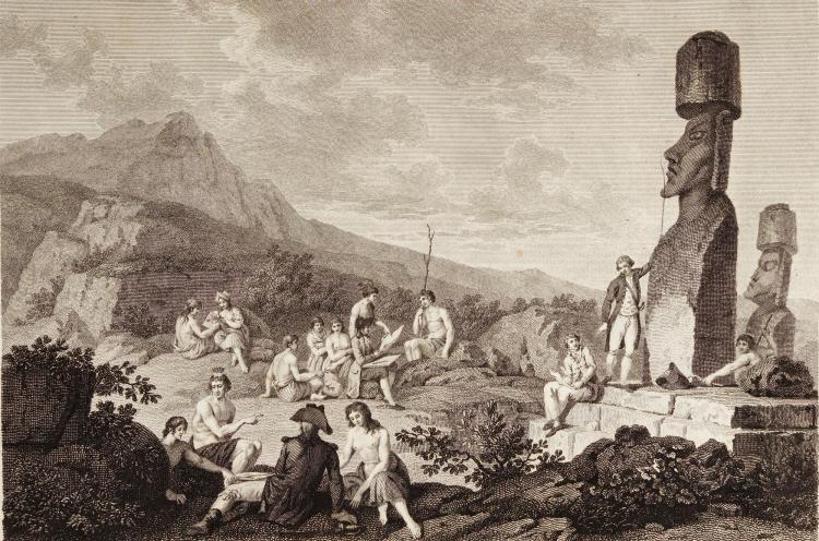 LA PEROUSE, VOYAGE AUTOUR DU MONDE. LONDON, 1799, 3 VOL., 4TO AND FOLIO ATLAS, CONTEMPORARY HALF CALF