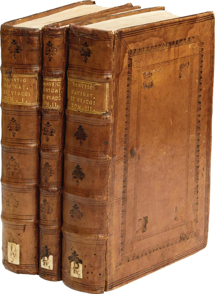 RAMUSIO. DELLE NAVIGATIONI ET VIAGGI, 1563-59-56, 3 VOL. (TWO FIRST EDITIONS), EARLY BLIND-PANELLED CALF