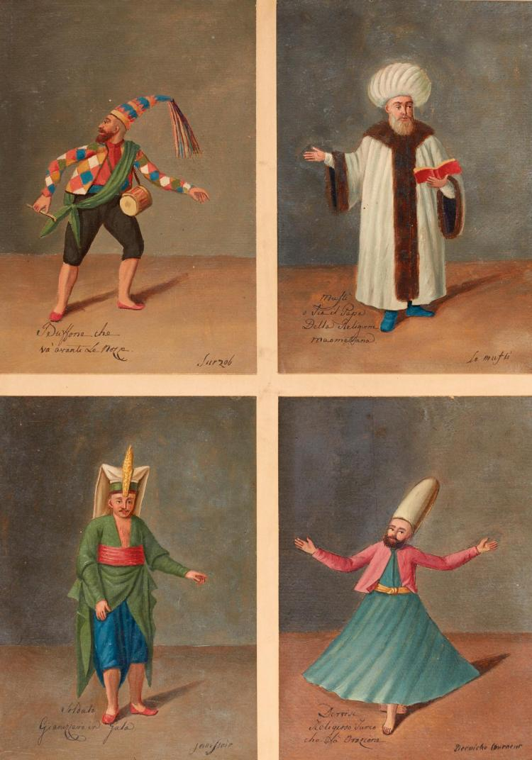 OTTOMAN COSTUME--AN ALBUM CONTAINING 64 OIL SKETCHES DEPICTING COSTUMES OF THE LEVANT; FROM THE BLACKMER COLLECTION