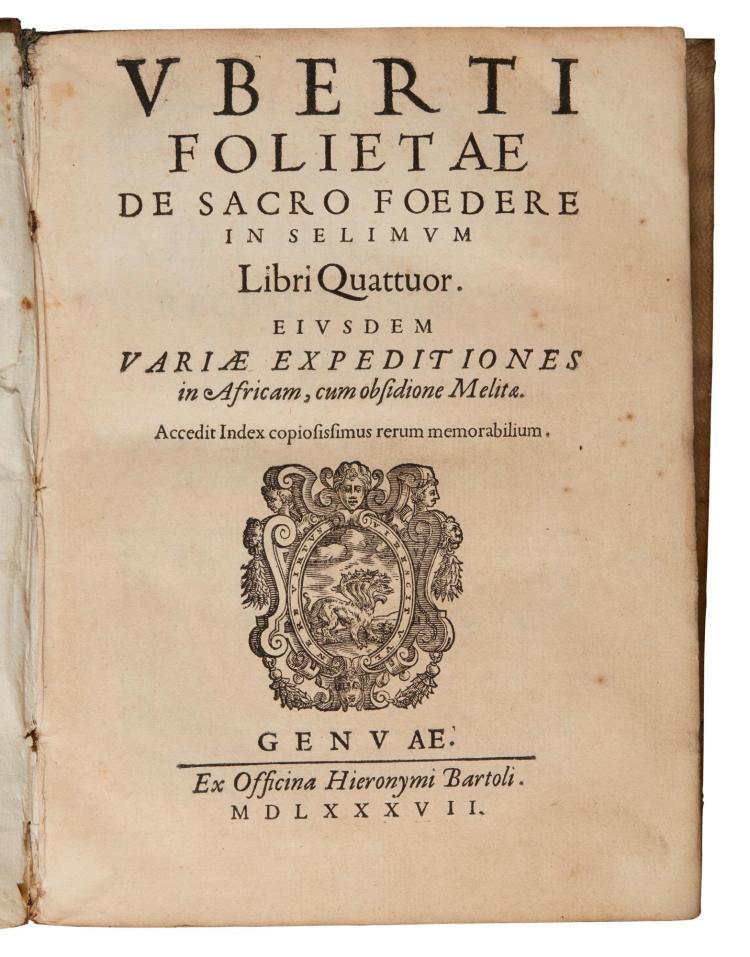 FOGLIETTA. DE SACRO FOEDERE, 1587