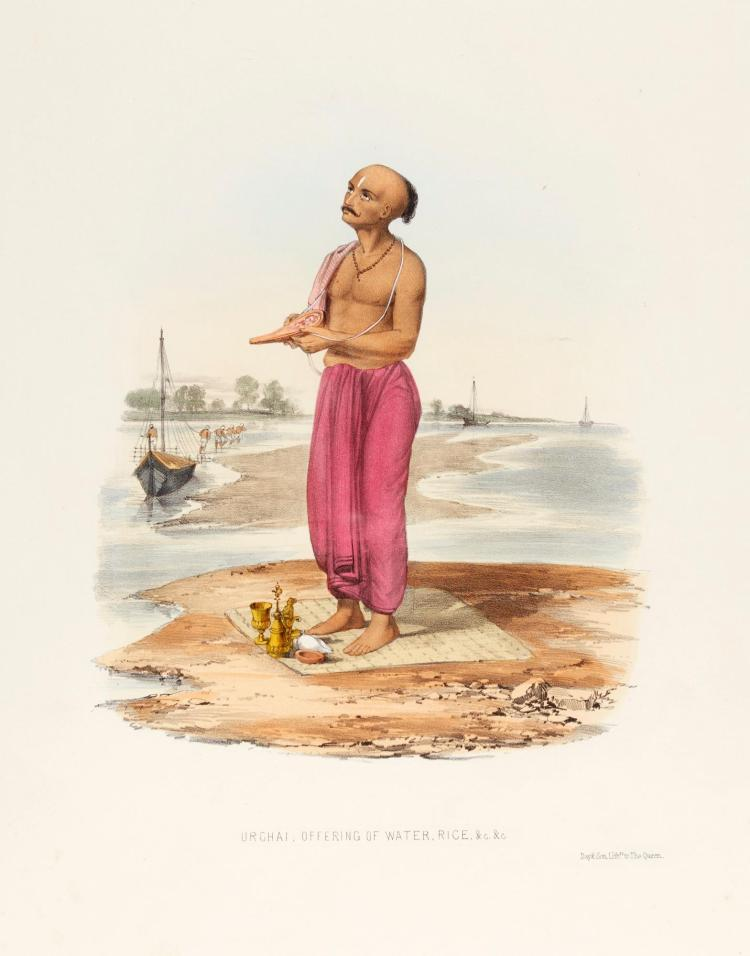 BELNOS. THE SUNDHYA, OR THE DAILY PRAYERS OF THE BRAHMINS, 1851, LARGE FOLIO, COLOURED PLATES