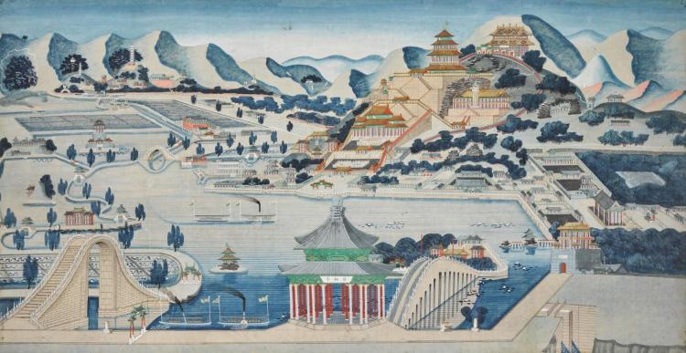 CHINESE WATERCOLOUR DRAWING OF THE SUMMER PALACE, BEIJING, QING DYNASTY